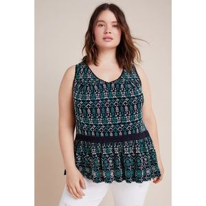 Anthropologie Maeve Cammie Embroidered Peplum Top